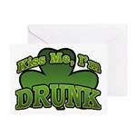 Kiss Me I'm Drunk Shamrock Greeting Card