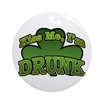 Kiss Me I'm Drunk Shamrock Ornament (Round)