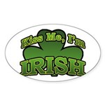 Kiss Me I'm Irish Shamrock Oval Sticker