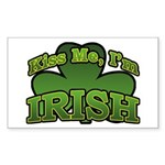 Kiss Me I'm Irish Shamrock Rectangle Sticker