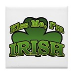 Kiss Me I'm Irish Shamrock Tile Coaster