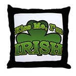 Kiss Me I'm Irish Shamrock Throw Pillow
