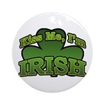 Kiss Me I'm Irish Shamrock Ornament (Round)