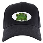 Kiss Me I'm Irish Shamrock Black Cap
