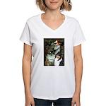 Ophelia / Collie (tri) Women's V-Neck T-Shirt