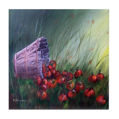 """""""Apples in the Grass"""" Tile Coaster"""