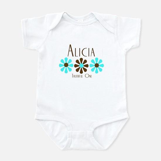 Alicia - Blue/Brown Flowers Infant Bodysuit