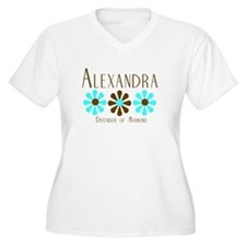 Alexandra - Blue/Brown Flower T-Shirt