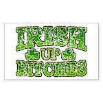 Distressed Drink Up Bitches Shamrock Sticker (Rect