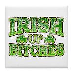 Distressed Drink Up Bitches Shamrock Tile Coaster