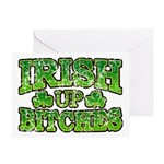 Distressed Drink Up Bitches Shamrock Greeting Card
