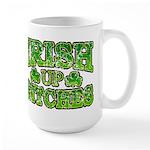 Distressed Drink Up Bitches Shamrock Large Mug