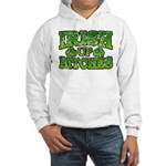 Distressed Drink Up Bitches Shamrock Hooded Sweats