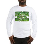 Distressed Drink Up Bitches Shamrock Long Sleeve T
