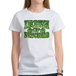 Distressed Drink Up Bitches Shamrock Women's T-Shi