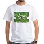 Distressed Drink Up Bitches Shamrock White T-Shirt