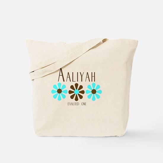 Aaliyah - Blue/Brown Flowers Tote Bag