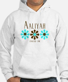 Aaliyah - Blue/Brown Flowers Hoodie Sweatshirt