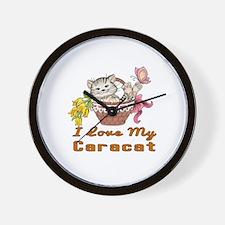 I Love My Caracat Designs Wall Clock