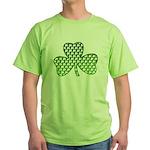 White Shamrocks in Shamrock Shamrock Green T-Shirt