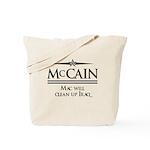 McCain / Mac will clean up Iraq Tote Bag