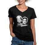 Dicks before Chicks Women's V-Neck Dark T-Shirt