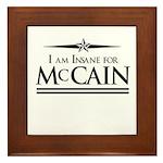 Insane for McCain Framed Tile
