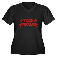 Team McCain Women's Plus Size V-Neck Dark T-Shirt
