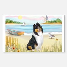 Rowboat / Collie (tri) Rectangle Decal