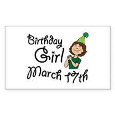 Birthday Girl March 17th Rectangle Decal