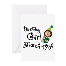 Birthday Girl March 17th Greeting Cards (Pk of 20)