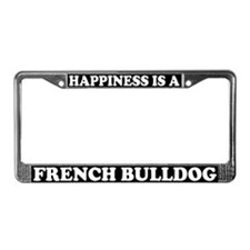 Happiness Is A French Bulldog License Plate Frame