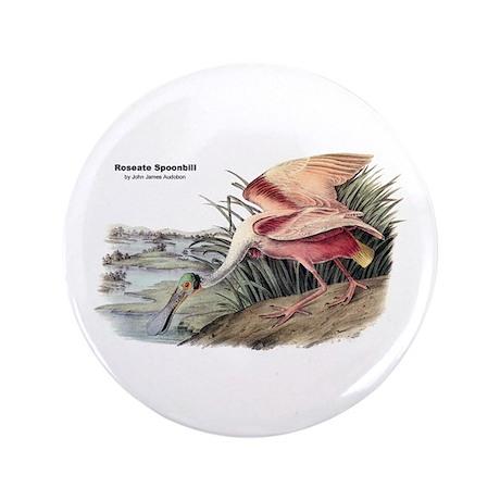 "Audubon Spoonbill Bird 3.5"" Button"