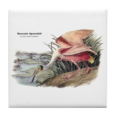 Audubon Spoonbill Bird Tile Coaster