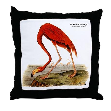 Audubon Flamingo Bird Throw Pillow