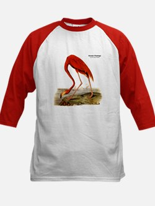 Audubon Flamingo Bird (Front) Kids Baseball Jersey