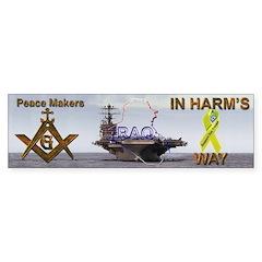 Masonic Vinyl Support our Troops Bumper Bumper Sticker