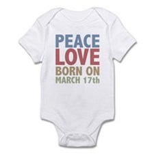 Peace Love Born on March 17th Infant Bodysuit