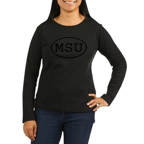 MSU Oval Women's Long Sleeve Dark T-Shirt