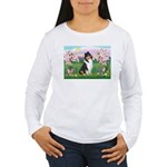 Blossoms / Collie (tri) Women's Long Sleeve T-Shir