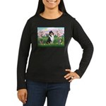 Blossoms / Collie (tri) Women's Long Sleeve Dark T