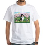 Blossoms / Collie (tri) White T-Shirt