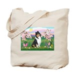 Blossoms / Collie (tri) Tote Bag