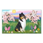 Blossoms / Collie (tri) Rectangle Sticker