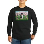 Blossoms / Collie (tri) Long Sleeve Dark T-Shirt