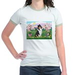 Blossoms / Collie (tri) Jr. Ringer T-Shirt