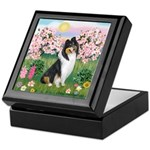 Blossoms / Collie (tri) Keepsake Box