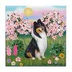 Blossoms / Collie (tri) Tile Coaster