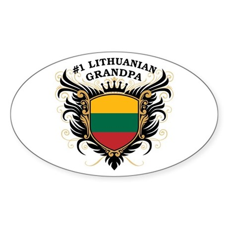 Number One Lithuanian Grandpa Oval Sticker