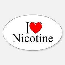 """I Love (Heart) Nicotine"" Oval Decal"